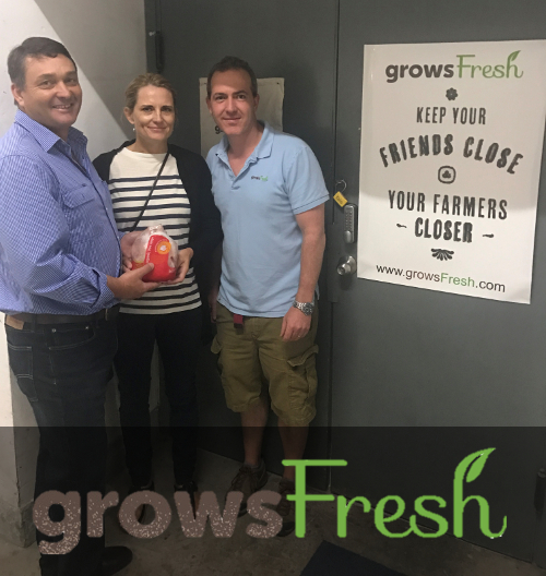 Angus & Sonya with Aaron Grant from Grows Fresh in Hong Kong